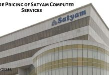 Share pricing of Satyam Computer Services